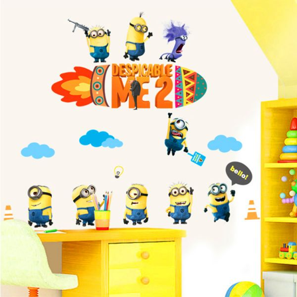 diy home decor cartoon minions wall stickers for kids rooms decals