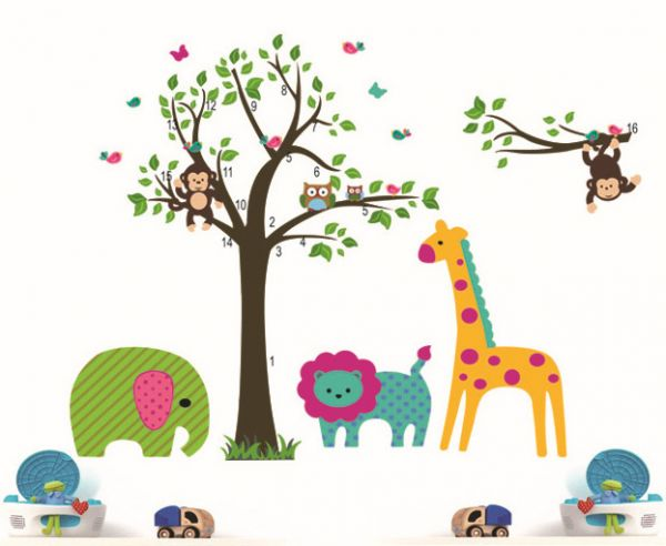 tree wall stickers for kids room decoration diy home decals animals