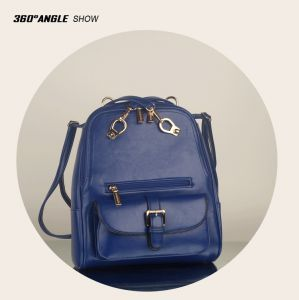50c631252da2 Fashion Blue Genuine Leather Backpack For Women Vintage Preppy Style Hasp  Double Shoulder Bags