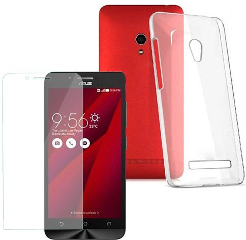 pretty nice cbace 9cdd4 Asus Zenfone Go Clear Back Cover and Glass Screen Protector (Bundle)