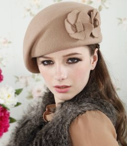 48cbb34bc Camel Stylish Korea autumn winter wool beret elegant stewardess costume hat  for women LM05-3