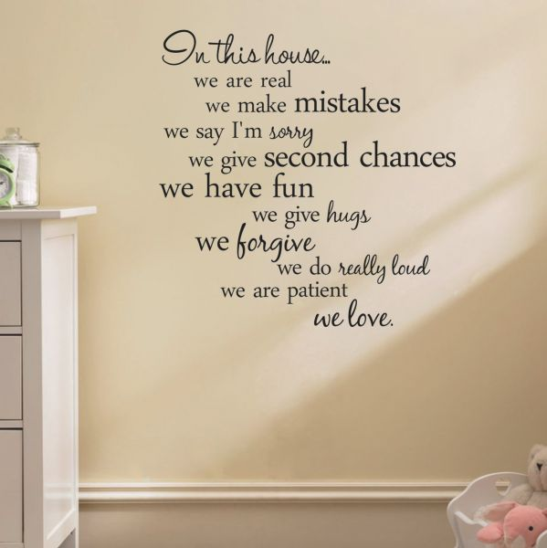 house rules quote wall stickers home decor living room diy wall art