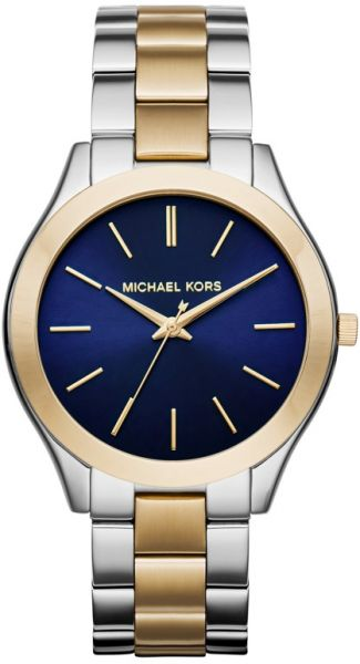 31034b3a932a Michael Kors Slim Runway Women s Blue Dial Stainless Steel Band ...