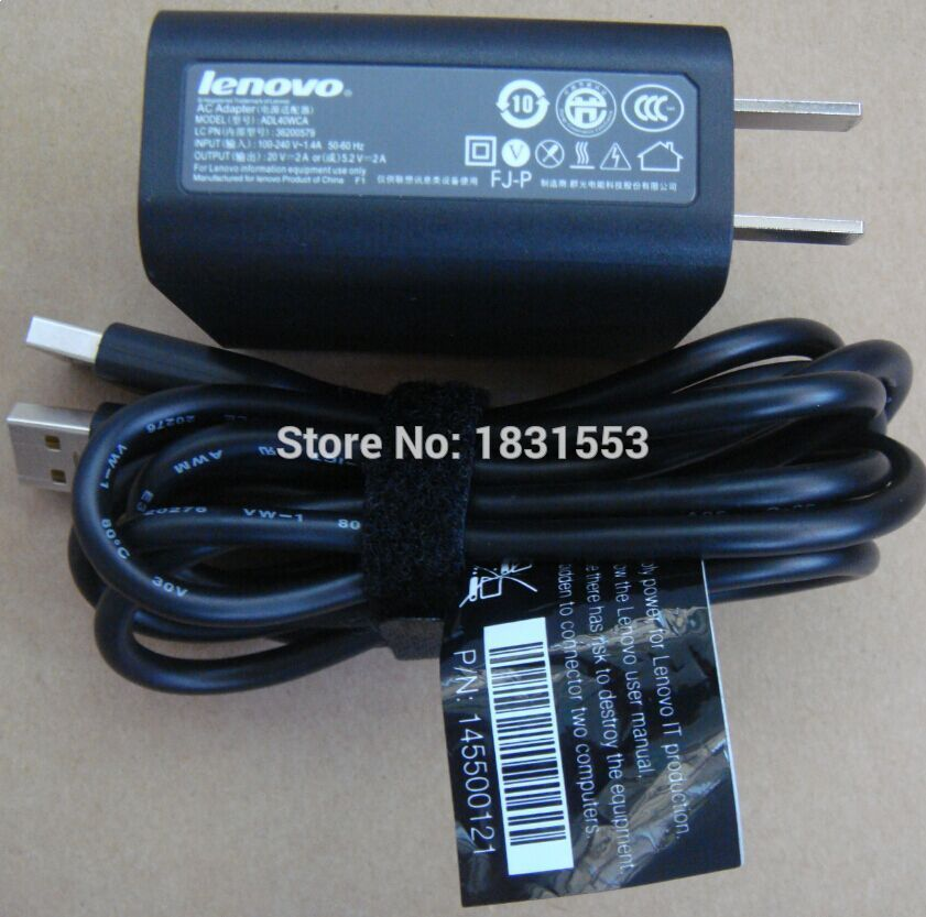 Original OEM 40W 20V 2A Charger adapter with USB cable for Lenovo Yoga 3-1470