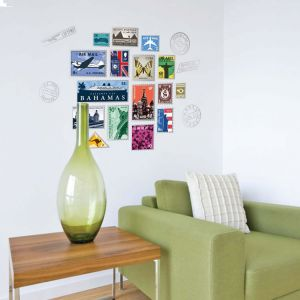 Creative postal stamp wall sticker sofa dining room wall mural picture travel decal | Souq - UAE