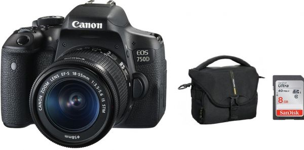 Canon EOS 750D - 24.2 MP, SLR Camera, Black, 18 - 55mm IS STM Kit with Vanguard Camera Bag BIIN 21LC, Sandisk 8GB Memory Card