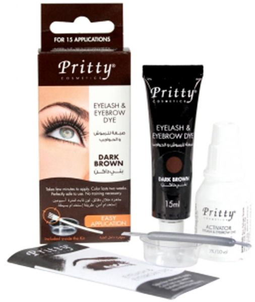 Pritty Eyelash and Eyebrow Dye Kit, Dark Brown | Souq - UAE