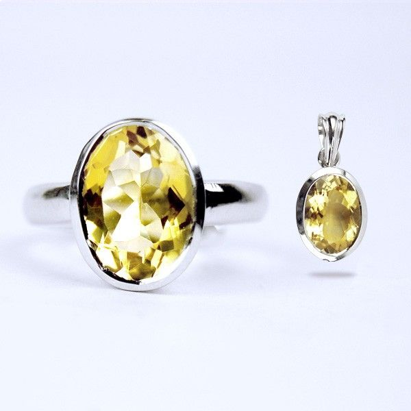 Buy ring and pendant with gemstone golden topaz jewelry sets ksa 65000 sar aloadofball Images