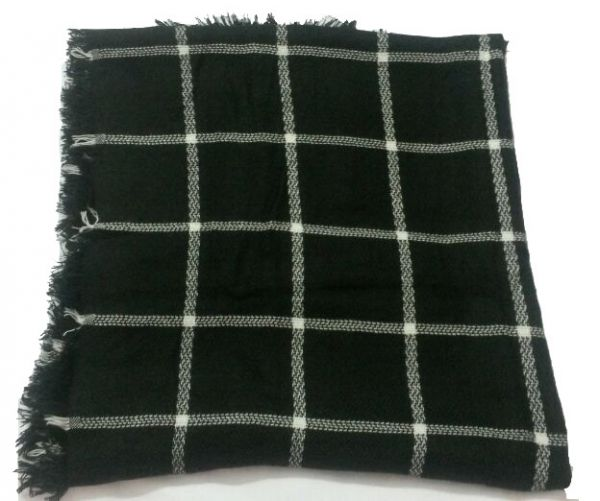 Buy Black Colour And Grid Knitting Fashion Scarfs Scarves Wraps