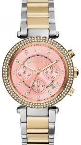 3540e102c35c Michael Kors Parker Women s Pink Dial Stainless Steel Band Chronograph Watch  - MK6140