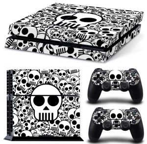 Black Nd White Skulls Vinyl Skin Sticker Decal For Playstation 4 Nd 2 Controllers [tn-ps4-1657]