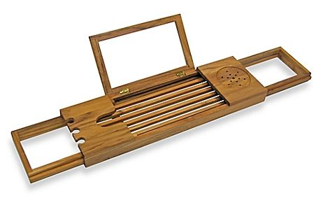 Bamboo Bathtub tray Caddy with Extending Sides and Adjustable Book ...