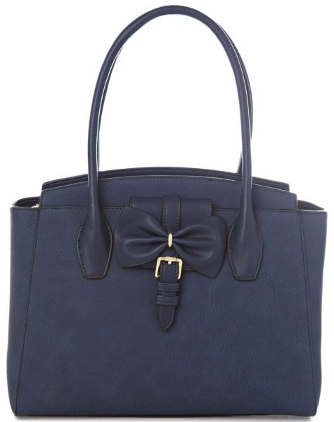 Susen Stylish Top Handle Bag for Women - Leather, Navy Blue