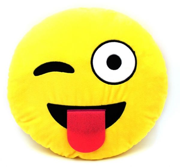Cute Emoji Pillow Smiley Emoticon Yellow Round Cushion Wink And