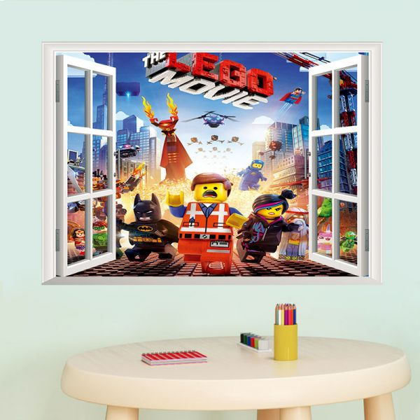 lego game 3d fake windows art diy wall sticker decal mural room