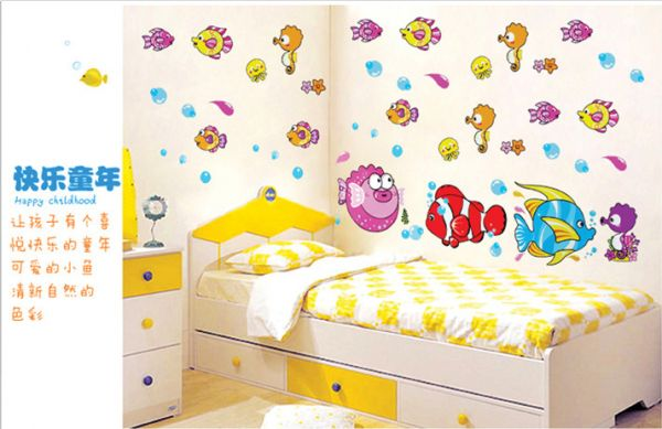 Souq | Cartoon Fish Spit Bubble Stickers For Kids Rooms Decals Home ...