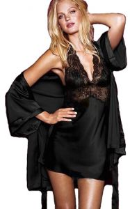 7a8ae3c6ee Ladies 2 Pcs Silk Lace Robe Lingerie Dress Bathrobe Nightgown Black ...