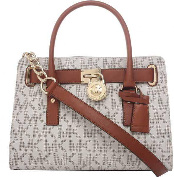 33a4577d3db0ce Michael Kors 30T2GHMS3B-150 Hamilton Monogram Logo Medium Satchel Bag for  Women - Vanilla | KSA | Souq