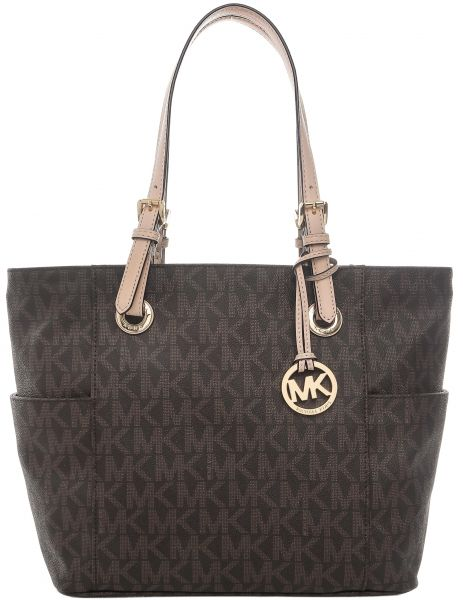 Michael Kors 30s11ttt4b 200 Jet Set Monogram Logo Tote Bag For Women Brown
