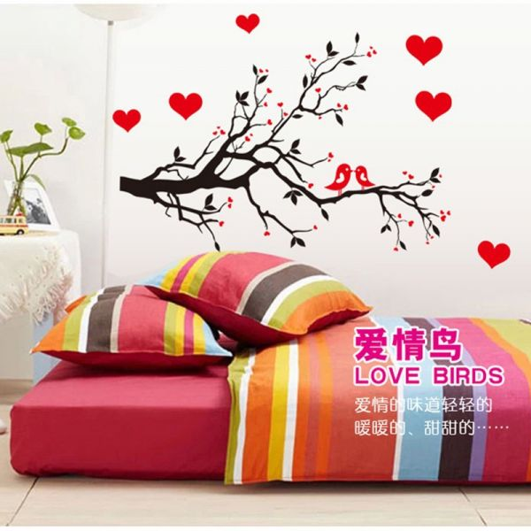 removable diy wall decals-red heart home decorative wall stickers