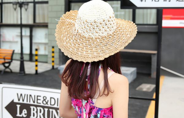 Female Summer Colour Straw Hat Handmade Crochet Bow Tie Along The Sun Beach Cap M8014 4