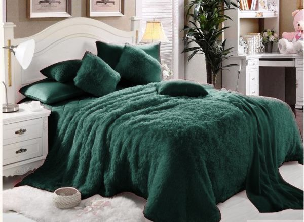 Comfy Luxe Soft Faux Fur 6 Pieces Blanket Comforter Set