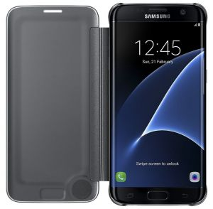 Samsung Galaxy S7 edge Case S-View Clear Flip Cover - Black