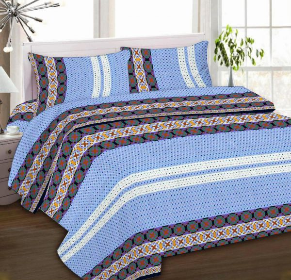 IBed Home Printed Bedsheets 3Piece Bedding Sets King Size, EAT 4519 BLUE