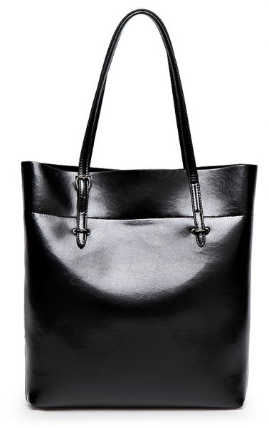 Fashion Black Leather Shoulder Bag For Women Trendy Elegant Tote European Style Las Handbag