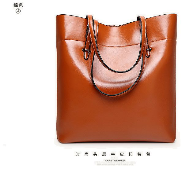 c8f2268269af Fashion Brown Leather Shoulder Bag For Women Trendy Elegant Tote Bag  European Style Ladies HandBag