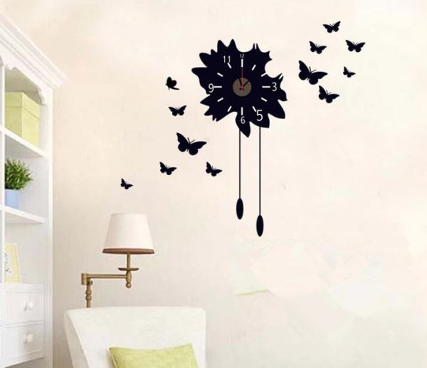 black butterfly wall stickers clock creative clock decals removable