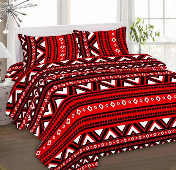 IBed Home Printed Bedsheets 3 Pieces Bedding Set   King Size, EAT 4498 RED