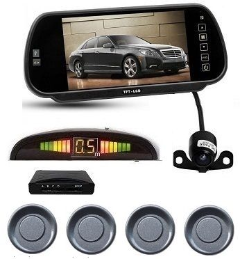 7 Inch TFT LCD Car Mirror Monitor With Reverse Camera, Indicator And Grey Color Sensors