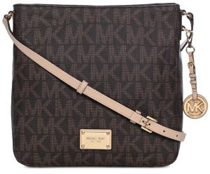 Michael Kors 30t2gtvm3b 200 Jet Set Travel Large Monogram Logo Messenger Bag For Women Brown Ksa Souq