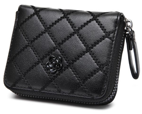 ce13bbb23c Fashion Leather Coin Purses For Women Black Argyle Mini Wallets. Sweet And  Stylish ...