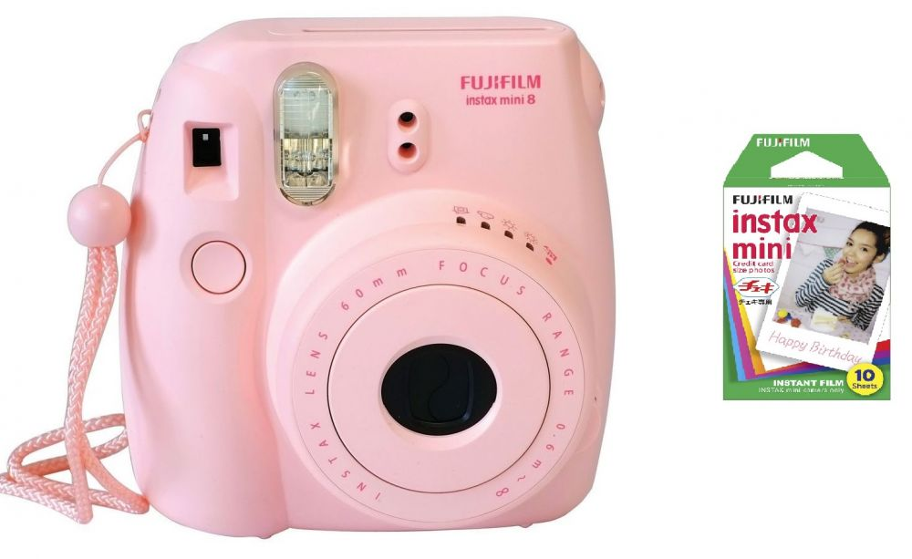 Fujifilm Instax Mini 8 Pink with 1 Pack of Instax Mini Film - Bundle Kit