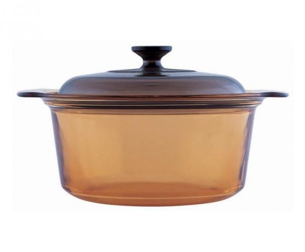 Visions Glass Covered Amber Stock Pot Brown Souq Uae