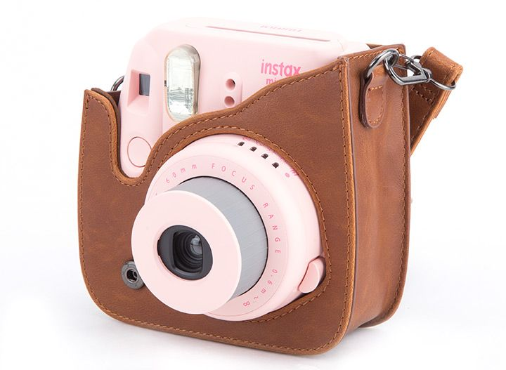 Fujifilm Instax Mini 8 Pink Camera with Brown Leather Case and 20 Film Sheet
