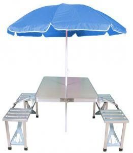 Superbe Portable Folding Picnic Table With Four Chairs And Beach Umbrella Combo