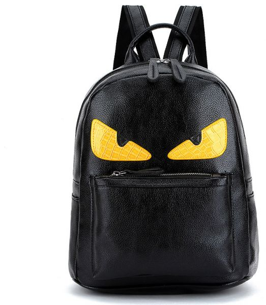 PU Leather Backpack Yellow-eyed Little Monster Unisex Fashion ... 3e66d2ac588fa
