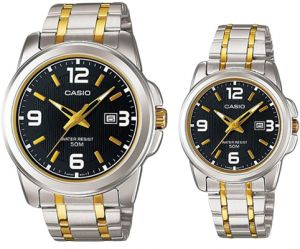 950941a9ba Casio His & Hers Black Dial Stainless Steel Band Couple Watch -  MTP/LTP-1314SG-1A