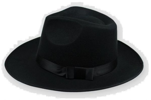 Black Cotton Fedora Hat For Men  46289349423