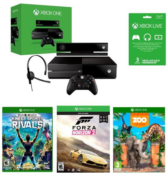 1f019c2e3 Xbox One 500GB Kinect + Forza Horizon 2 + Kinect Sports Rivals + Zoo Tycoon  + 3 Months Live Gold Membership