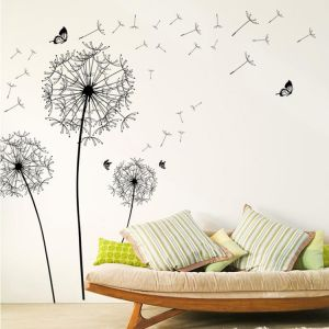 Home Decor Hot Sale Black Creative Pvc Dandelion Flower Plant Tree Large Removable Home Wall Decal Fast Color