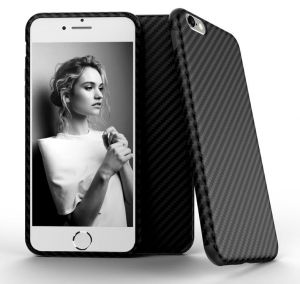 For iPhone 6/6S 4.7-inch - X-Level Carbon Fiber Slim Back Case Cover Skin For iPhone 6/6S - Black