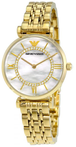 03610f39 Emporio Armani Classic Women'S Mother Of Pearl Dial Stainless Steel Band  Watch Ar1907, Quartz, Analog