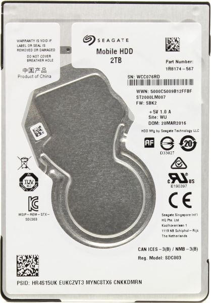 Seagate 2TB Laptop HDD SATA 6Gb/s 128MB Cache 2 5-Inch Internal Hard Drive  (ST2000LM007)