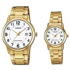 ce53d9757972 Casio His   Hers White Dial Stainless Steel Band Couple Watch - MTP LTP -V002G-7BUDF
