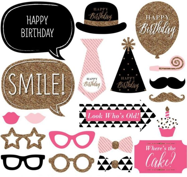 20pcsset Fun Pink Happy Birthday Photo Booth Props On A Stick
