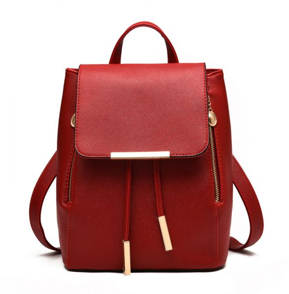 37e25dca60 Trendy Red Leather Fashion Backpacks For Women Chic Ladies Girls ...
